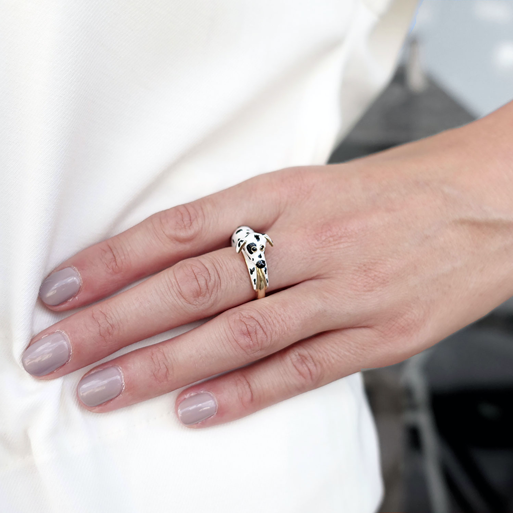 model wearing chiara bello 18k gold-plated enamel GIANNA DALMATIAN Designer ring on IndieFaves
