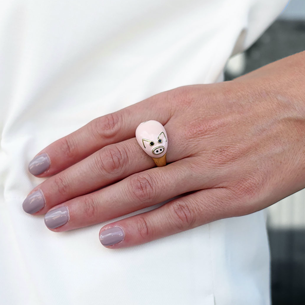 model wearing chiara bello 18k gold-plated enamel LINO PIG Designer ring on IndieFaves