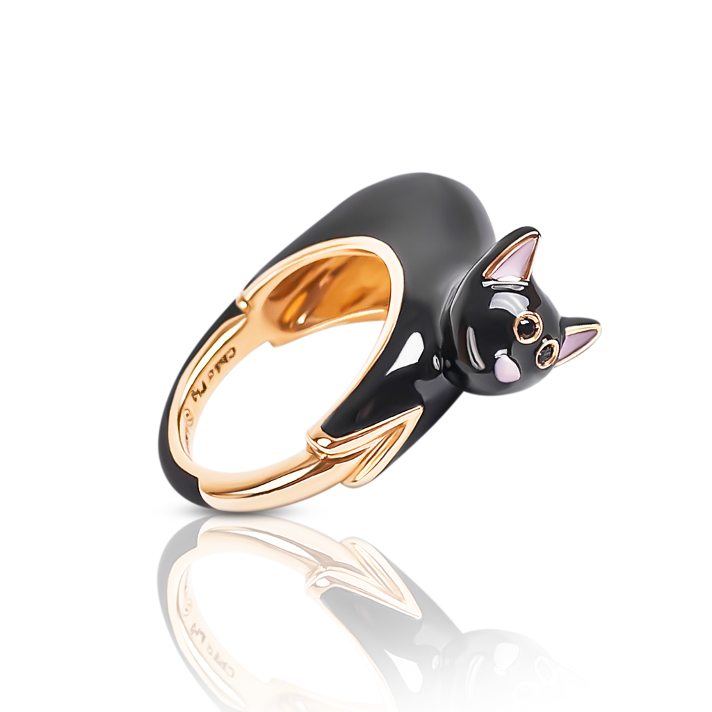 chiara bello 18k gold-plated enamel nerone cat Designer ring on IndieFaves