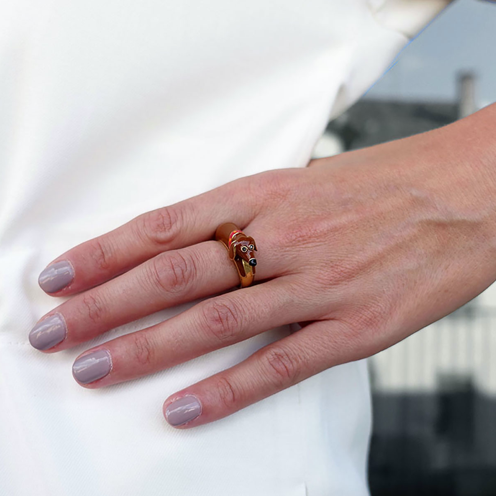 model wearing chiara bello 18k gold-plated enamel UGO SAUSSAGE Designer ring on IndieFaves