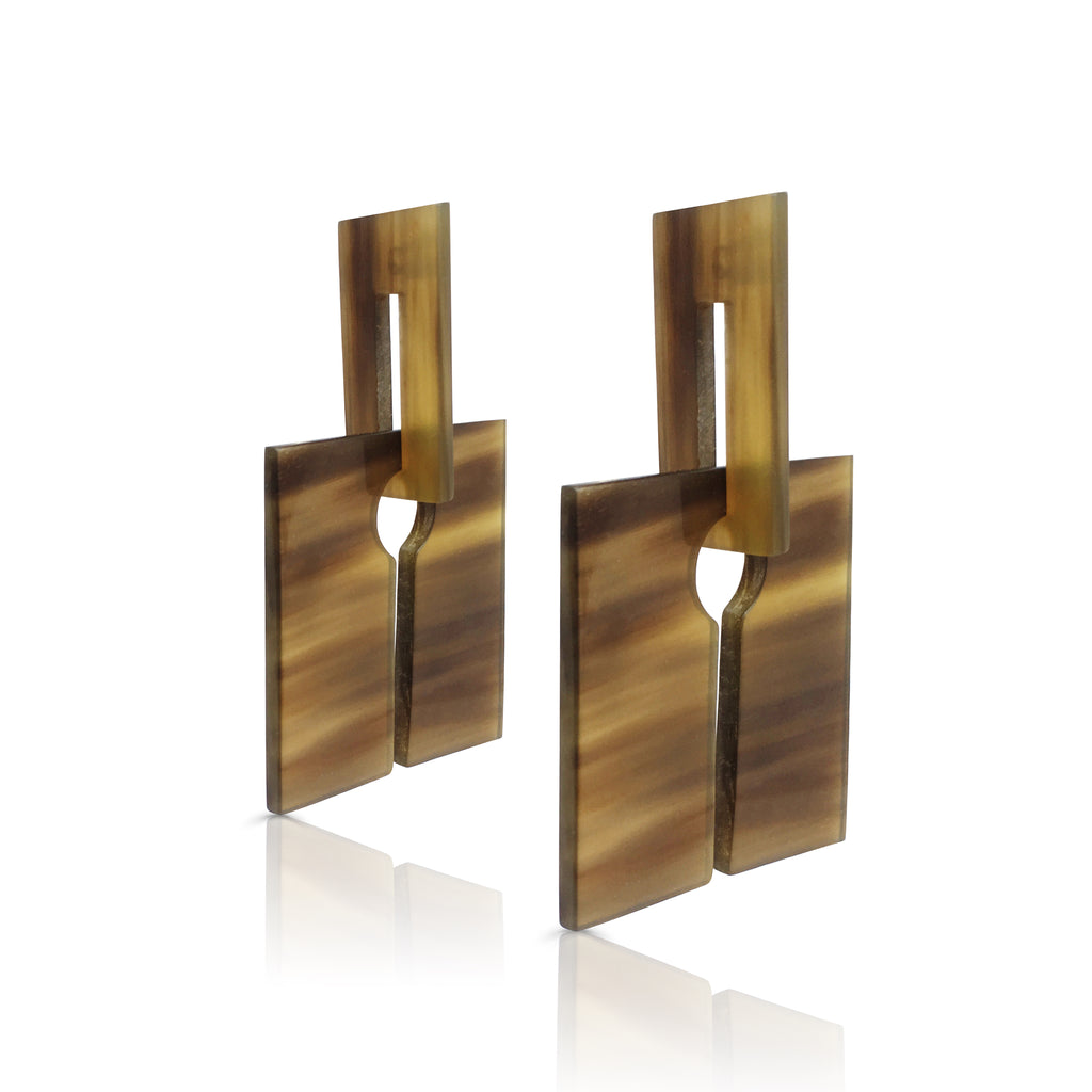 Square Genuine Buffalo Horn and Silver Designer Earrings on IndieFaves