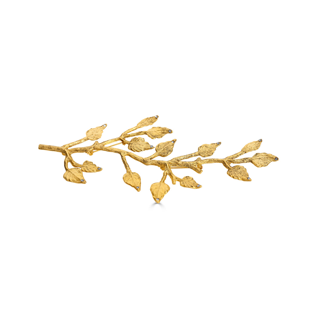 Vintage-Style Brass Designer Brooch with Swarovski Crystals on IndieFaves