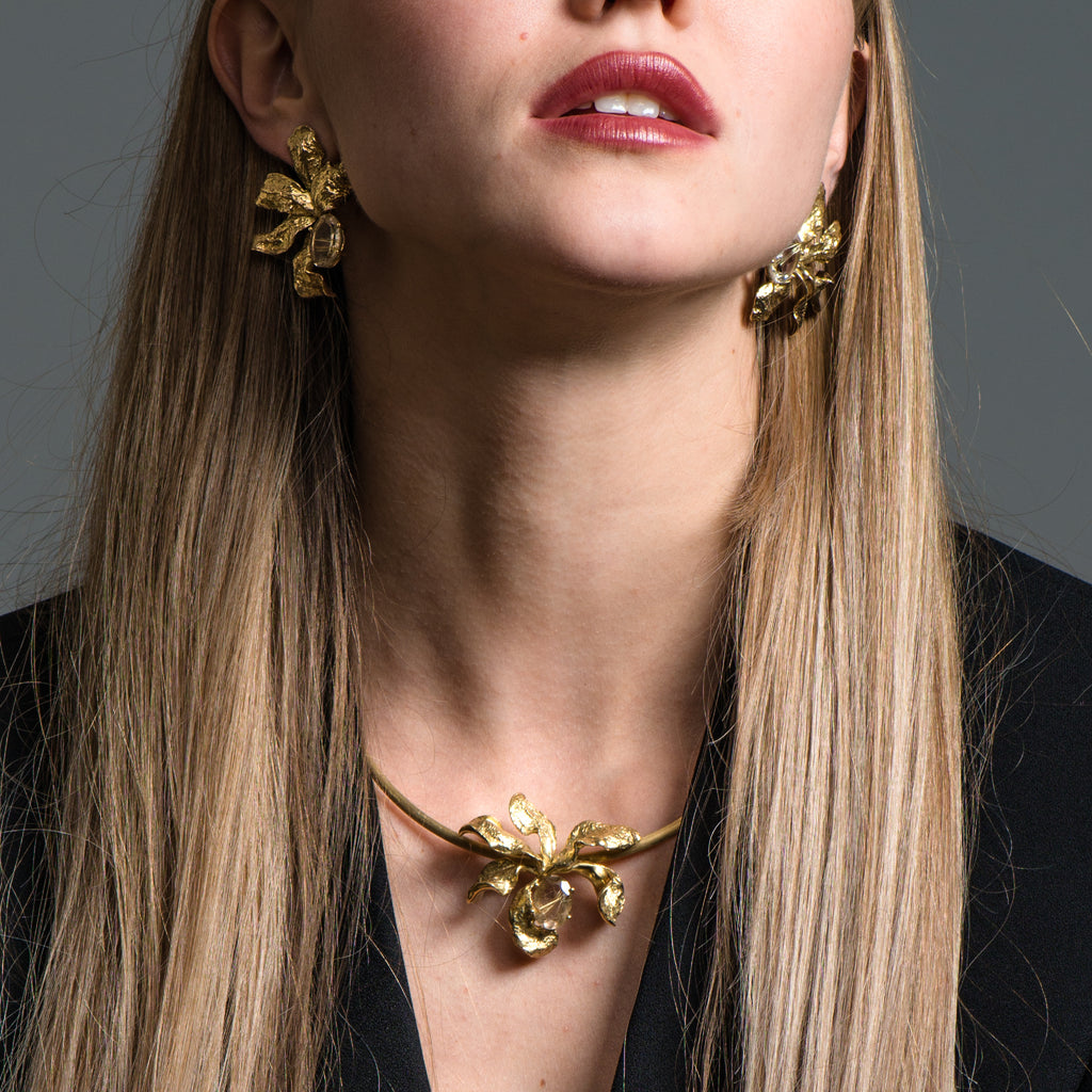Model wearing Mara Soriano - Natsu Designer Earrings with Rutilated Quartz on IndieFaves