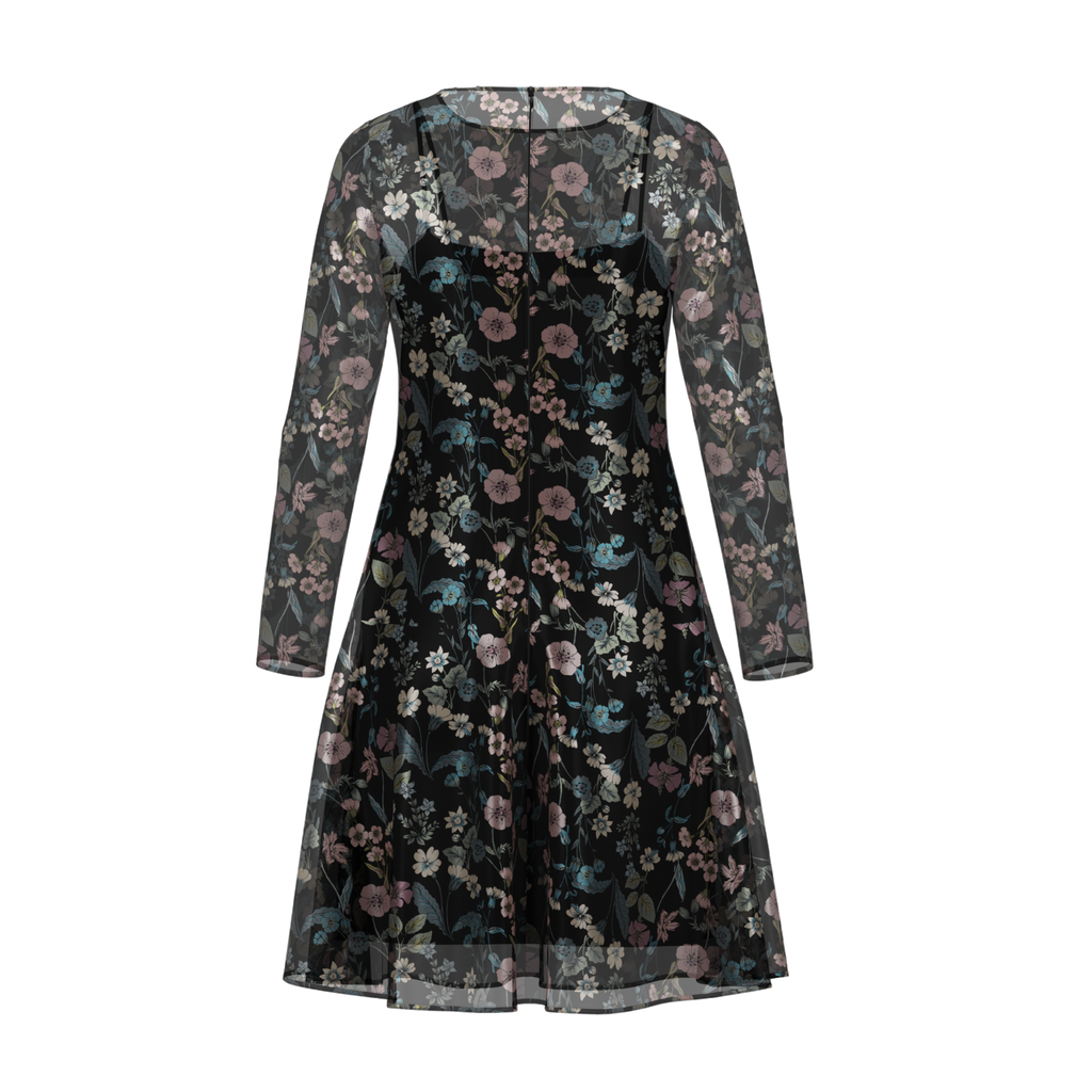 Day To Night Flowerfield Dress In Chiffon Black Back on IndieFaves