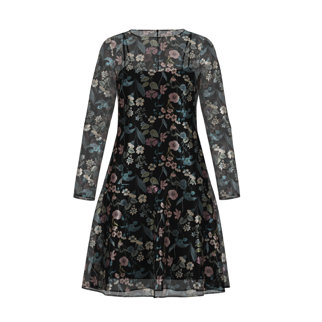 Day To Night Flowerfield Dress In Chiffon Black Front on IndieFaves