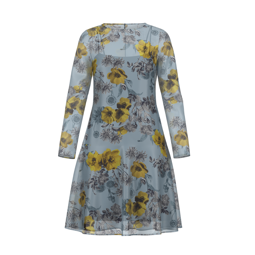 Day To Night Daisies Dress In Chiffon Blue Front on IndieFaves