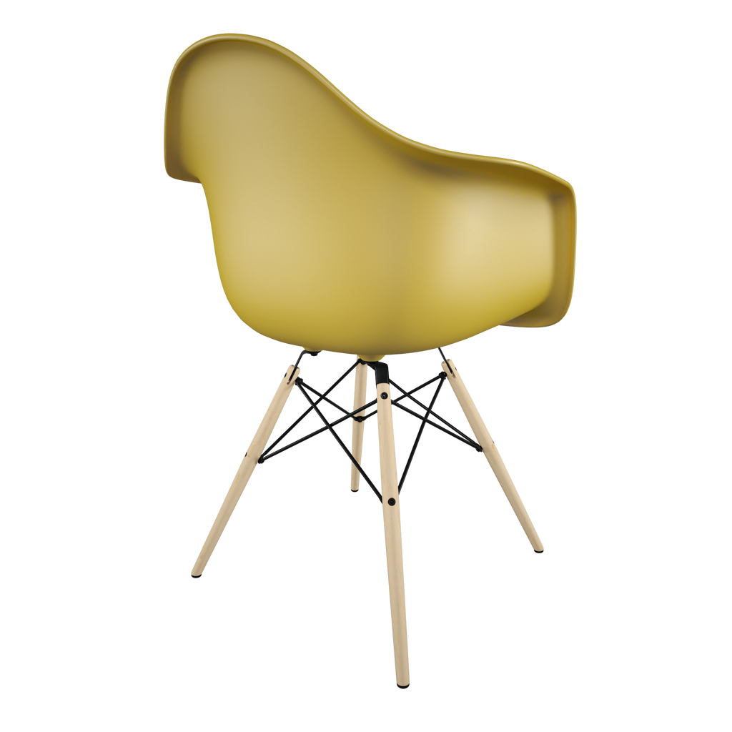 Dining chair with yellow seat and golden maple wood base back view on IndieFaves