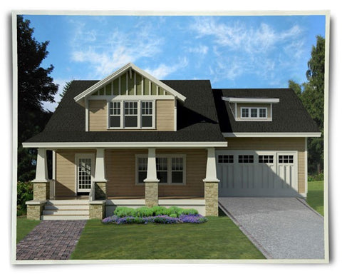 craftsman home plan with garage and master on main floor