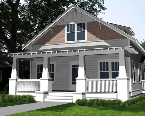 Bungalow home plan front porch