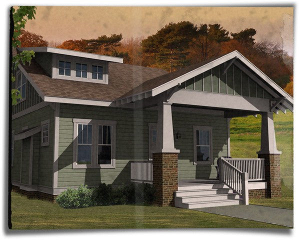 exposed rafter home plan rendering