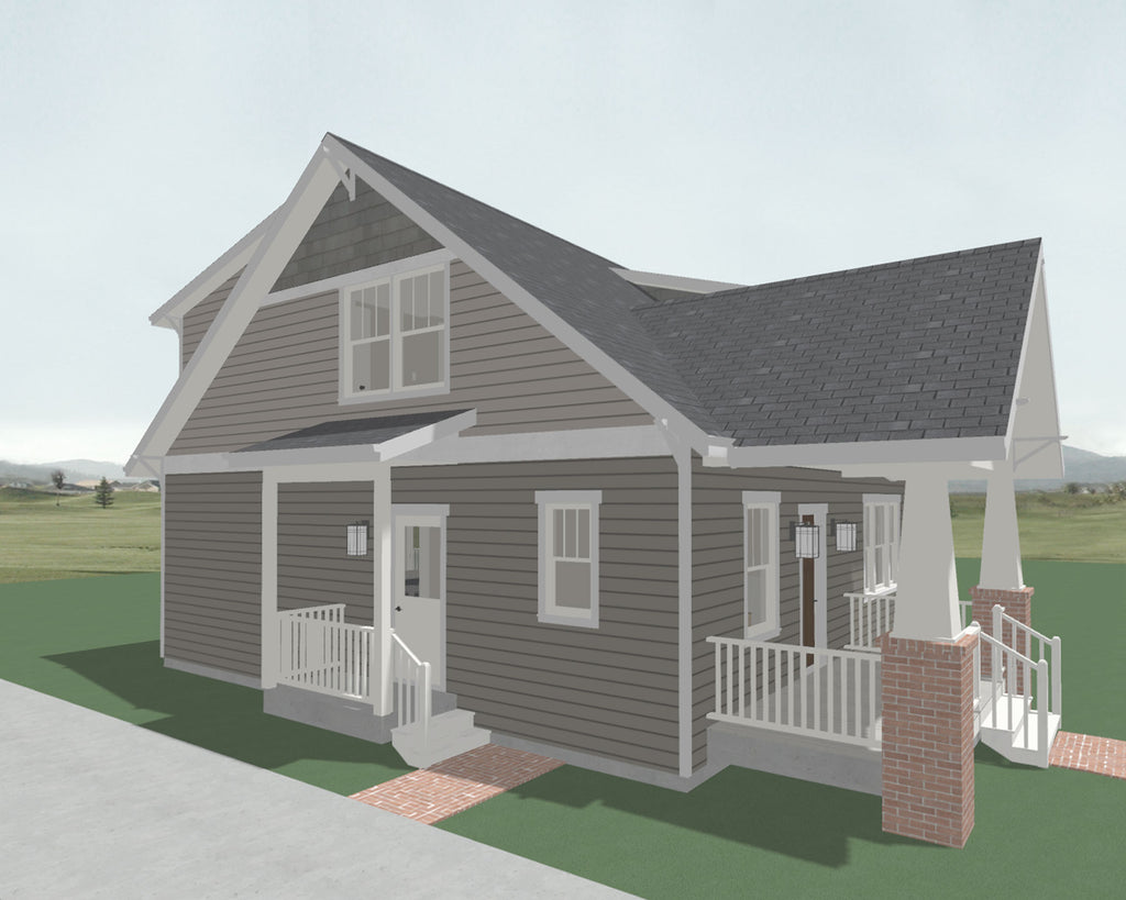 Side entry to farmhouse home plan