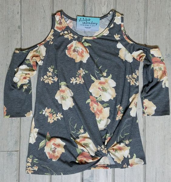 Floral Print Cold Shoulder Front Knot Tunic