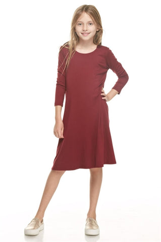 Girls 3/4 Sleeve Flared Dress