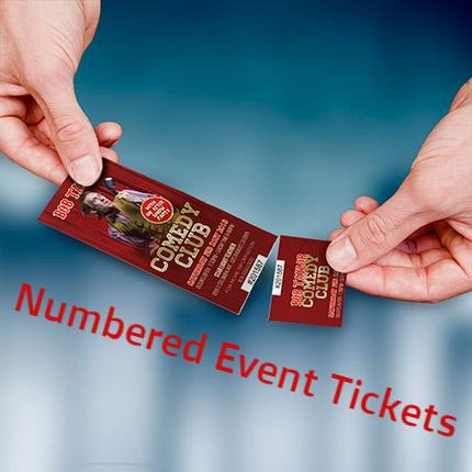 event tickets with numbering matte media