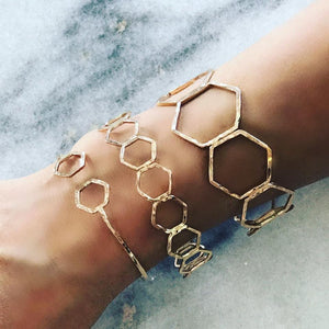 Small Hexagon Gold Bangle
