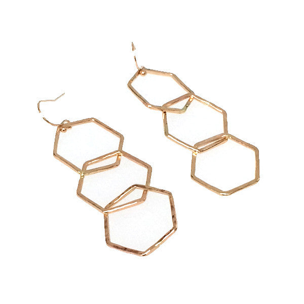 Hammered LA 20K Gold Hexagon Earrings