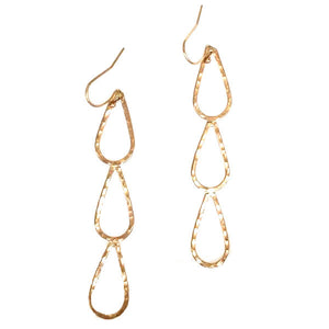 Hammered LA 20K Gold 3 Teardrop Dangle Earrings