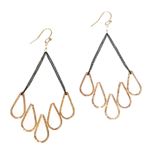 Hammered LA Five Teardrop 20K Gold Chandelier Earrings