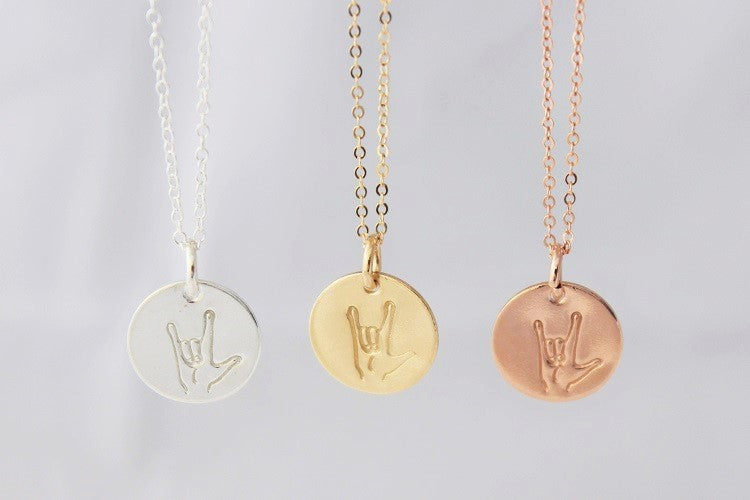 ASL I Love You Necklace