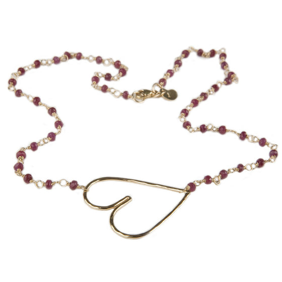 Cure Collection Ruby 20K Gold Heart Necklace