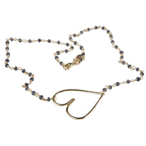 Cure Collection Blue Sapphire 20K Gold Heart Necklace