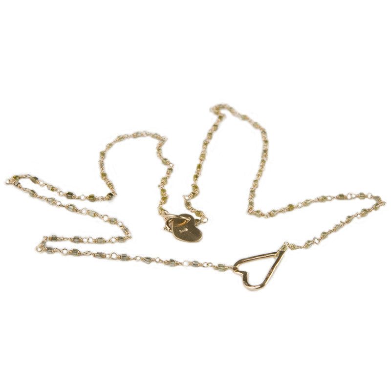 Cure Collection Yellow Diamond 14k Gold Heart Necklace