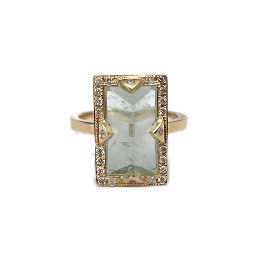 GREEN AQUAMARINE VERTICAL BAR RING