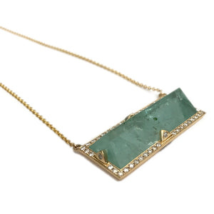 Green Aquamarine Rectangle Necklace