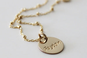 Gold Filled Personalized Disk Necklace
