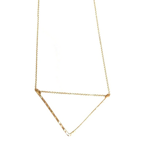 Edina Kiss Hammered Gold Triangle Necklace