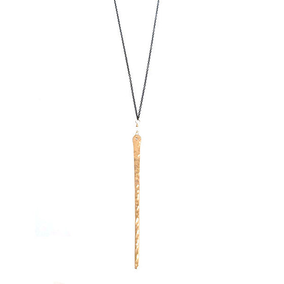 Hammered LA 20K Gold Icicle Necklace