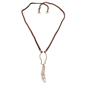 Edina Kiss Leather and Pearl Pendant Necklace