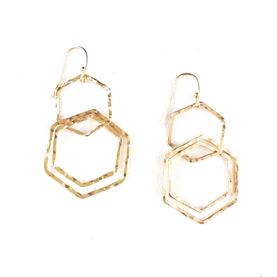 Hexagon Chandler Earrings