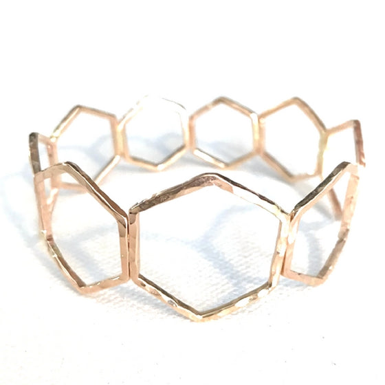 Large Hexagon Gold Bangle
