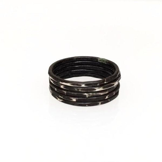 Oxidized Silver Stackable Rings (Set of 5)