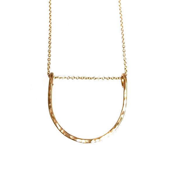 Hammered LA Gold Half Circle Necklace