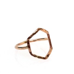 Hammered LA 20K Gold Hexagon Ring