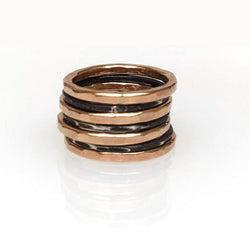 Rose Gold Oxidized Silver Rings (Set of 7)