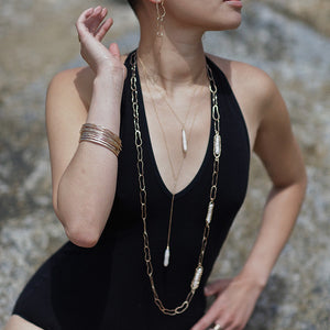 Hammered LA Gold and Pearl Long Necklace
