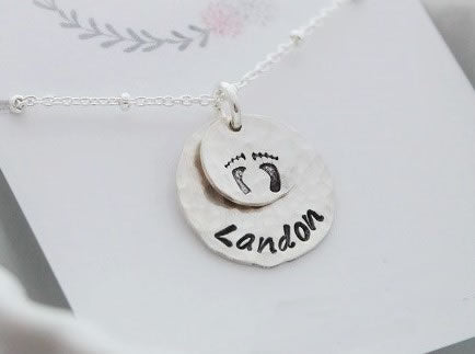 Sterling Silver Baby Feet Personalized Necklace