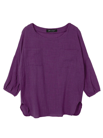 Pure Color Loose Long Sleeve Cotton Blouse