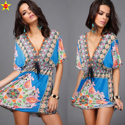 Boho Style V Ethnic Floral Summer Women Dress