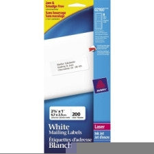 "Avery Address Label - 1"" Width x 2 5/8"" Length - Laser, Inkjet - White - 200 / Pack - Office Buggy"