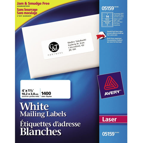 "Avery Address Label - 1 1/3"" Width x 4"" Length - White - 1400/Pack"