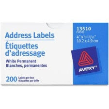 "Avery Address Label - 4"" Width x 1 15/16"" Length - Rectangle - White - 200 / Roll - Office Buggy"