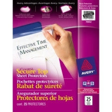 "Avery Secure Top Sheet Protector - For Letter 8.5"" x 11"" Sheet - Ring Binder - Rectangular - Clear - Polypropylene - 25 / Pack"