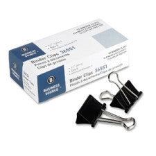 "Business Source Binder Clip - Medium - 1.3"" x  0.6"" - Black Color - Steel - 12/Pack"
