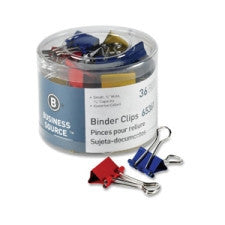 "Business Source Binder Clip - Small - 0.8"" x  0.4"" - Assorted Colours - Steel - 36/Pack"