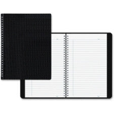 "Blueline Duraflex Notebook - 160 Sheets - Printed - Twin Wirebound - Letter 11"" (279.4 mm) x 8.5"" (215.9 mm) - Black Cover Textured - Poly Cover - Recycled - 1Each"