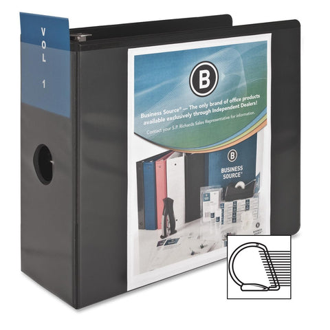 "Business Source Basic D-Ring View Black Binder - 5"" Binder Capacity - Letter - 8 1/2"" x 11"" Sheet Size"